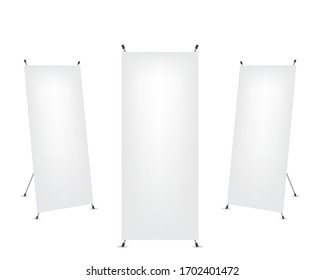 Roll up x-stand banner on white background