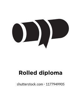 Rolled diploma icon vector isolated on white background, logo concept of Rolled diploma sign on transparent background, filled black symbol