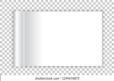 Rolled landscape magazine with white paper pages isolated on transparent background. Vector open blank book, catalog or brochure with folded sheets mockup
