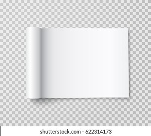 Rolled landscape magazine with white paper pages isolated on transparent background. Vector open blank book, catalog or brochure with folded sheets mockup.