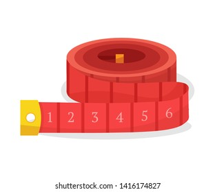 Rolled up measuring tape flat vector illustration. Sewing craft attribute, dressmaking workshop equipment. Diet, weight loss symbol. Length, size measurement tool. Professional tailor instrument