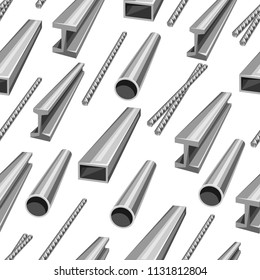 Rolled metal products seamless pattern. Metallurgical industrial illustration of tubes, rails and armature.