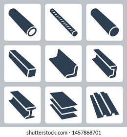 Rolled Metal Products Vector Icon Set