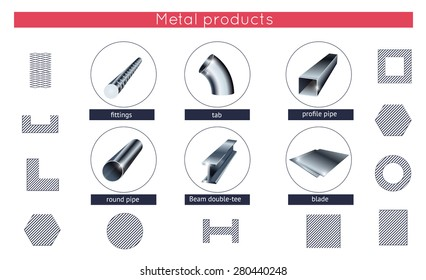 Rolled metal products vector icons set. Metallurgy products.