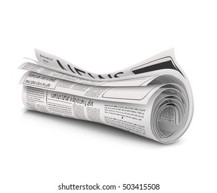 Rolled newspaper with the headline News