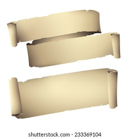 rolled old paper banners , vector drawing set