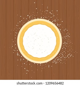 Rolled pizza dough sprinkled with flour on a round board flat vector illustration isolated on wooden surface
