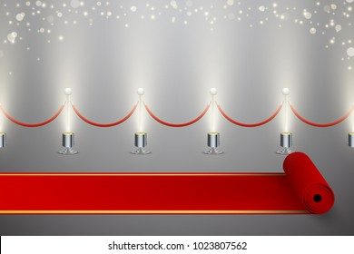 Rolled red carpet and fence with illumination and blurred sparkles, vector background