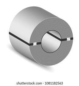 Rolled steel coil straps with steel strapping, Plate metal sheet industry, vector 3D