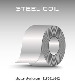 Rolled steel coil, straps, strip. Plate metal sheet industry, 3D icon vector