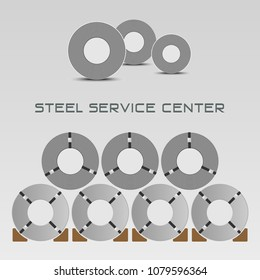 Rolled steel straps, steel coil, metal sheet plate industry in factory warehouse, raw material stock vector