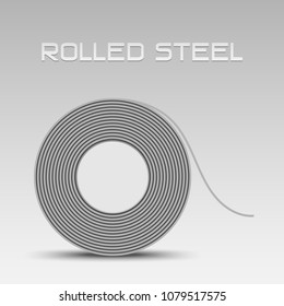 Rolled steel straps, steel coil side view, Steel plate metal sheet industry, flat icon vector