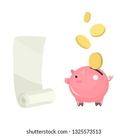 A rolled-up sheet of paper, a roll for issuing a check for a purchase at the box office, an invoice for payment. Piggy bank with coins. Symbol of savings and income. Piggy bank