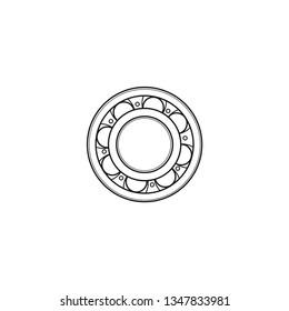 Roller bearing vector icon. Bearing contour web design