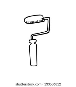 roller brush icon doodle  with white background