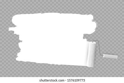 Roller brush painting white over transparent background. vector illustration.
