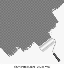 roller brush painting white over transparent background. vector illustration