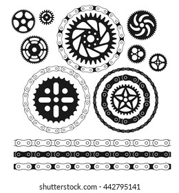 Roller chains and bicycles gears set. isolated on white background vector graphics shapes.
