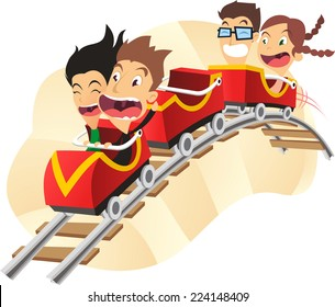 Roller coaster amusement park super fun ride cartoon vector illustration
