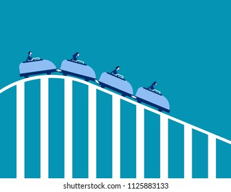 Roller coaster economy. Concept business vector illustration. Flat character design.