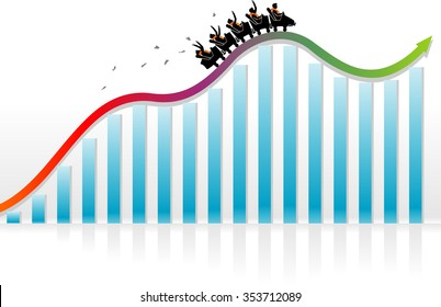 Roller Coaster Economy-Business or Finance conceptual illustration of a business team riding towards growth
