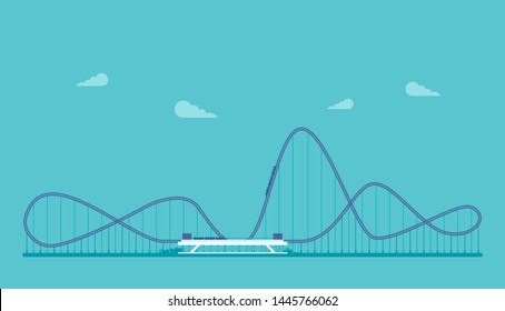 Roller coaster in the flat style vector