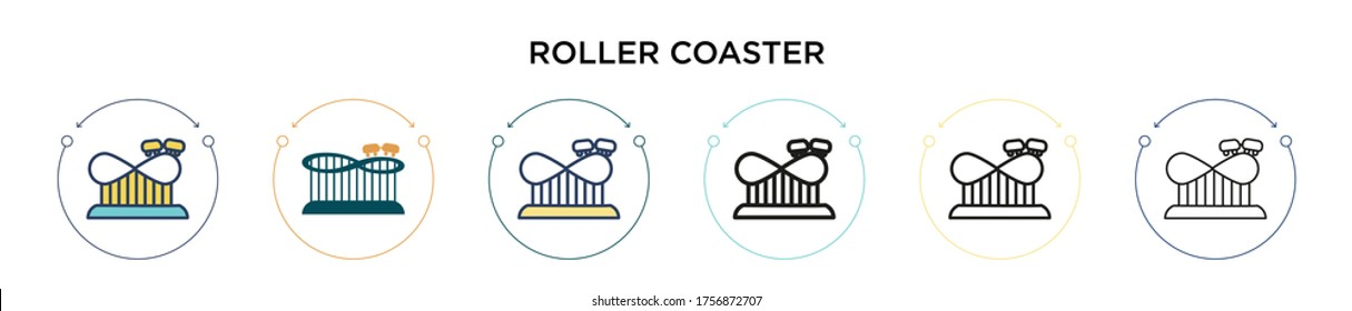 Roller coaster icon in filled, thin line, outline and stroke style. Vector illustration of two colored and black roller coaster vector icons designs can be used for mobile, ui, web