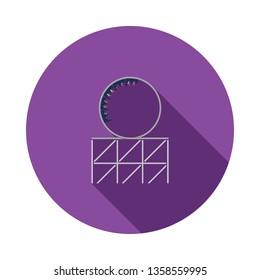 Roller coaster loop icon. Flat color design. Vector illustration.