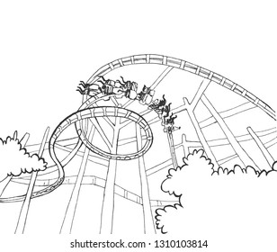 Roller Coaster on a White Background. People ride in the amusement park. Outlines bushes, a place for text. Vector illustration. Blank for your design, children's entertainment