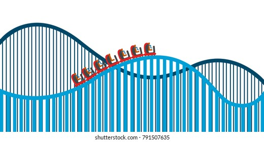 Roller coaster on a white background, Vector illustration