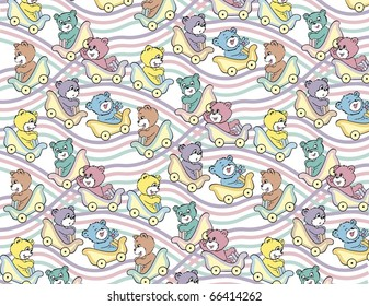 Roller Coaster Teddy Bear Pastel Pattern