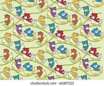 Roller Coaster Teddy Bear Pattern Full Color
