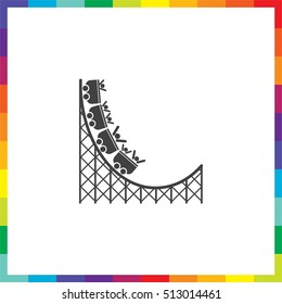 Roller coaster vector icon. Amusement park sign. Speed ride symbol