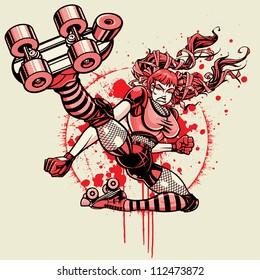 Roller Derby Girl - Flying Kick: Halftone Version. Vector illustration of a roller derby girl doing a flying kick toward camera. File was created using a halftone pattern for the shading (three color)