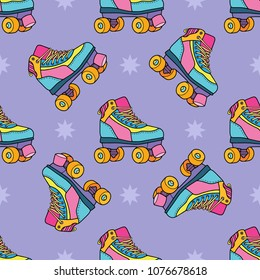 Roller derby skates seamless pattern. Lovely vector illustration, background design, good for textile, wrapping paper, packaging.