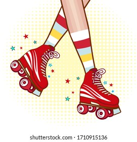 Roller girl legs on a white backgropund. Comic style