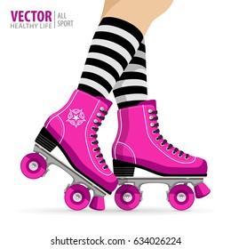 Roller girl. Quad skates classic. Roller skates. Sport background. Vector illustration.