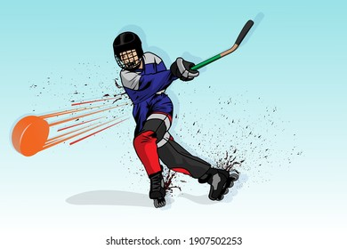 Roller hockey player wearing a helmet with a hockey stick on roller skates vector illustration