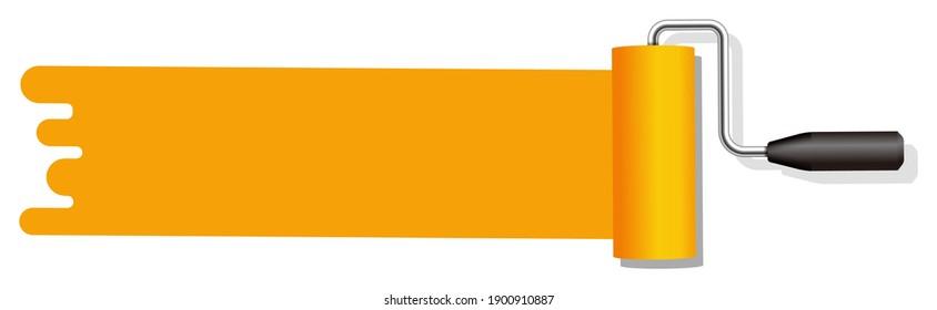 roller painter, paintbrush vector illustration | orange