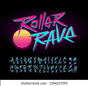 Roller Rave vintage sign and doodle style Retro Wave font alphabet vector template. Set of Rock grunge symbols collection for print tee and poster design. Retro wave type font collection