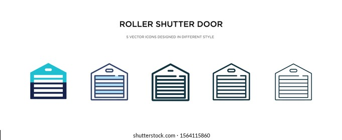 roller shutter door icon in different style vector illustration. two colored and black roller shutter door vector icons designed in filled, outline, line and stroke style can be used for web,