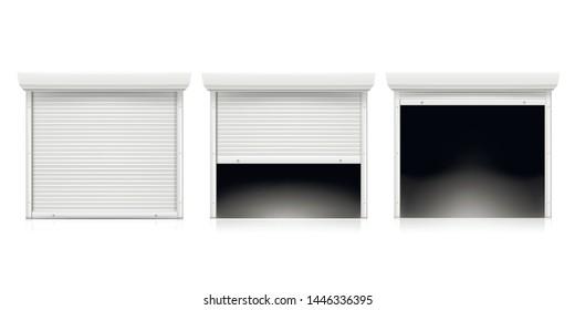 Roller shutter door set, coiling door for security. Metallic industrial frame. Vector rolling shutter illustration on white background