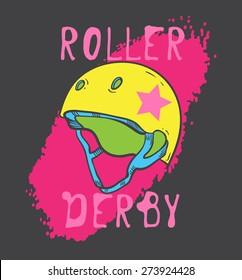 Roller skate and roller derby graphic design for t-shirt