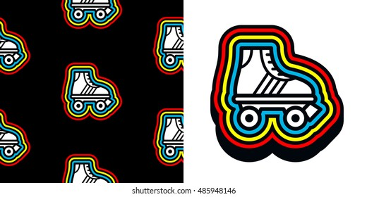 Roller skate icon with colorful frame and a matching seamless background pattern on black for print and textile, vector image set