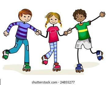 Roller Skate Kids - Vector