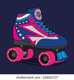 Roller skate New York typography, t-shirt graphics, vectors