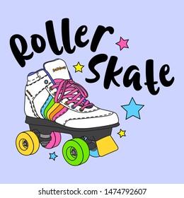 ROLLER SKATE STARS SLOGAN PRINT VECTOR