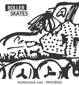 Roller skate typography, t-shirt graphics, sport.Vector Illustration