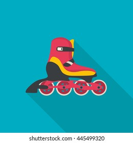 Roller skate vector. Flat style with long shadow. Illustration.