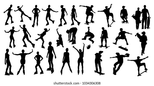 Roller and skater silhouettes